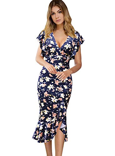 VFSHOW Womens Elegant Ruffles Cocktail Party Mermaid Wiggle Midi Dress 1722 FLW 3XL