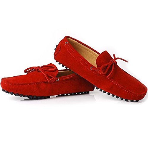 Fulinken Suede Leather Moccasin Mens Slip on Loafers Casual Shoes Driving Shoes Red zkiCSGnEI