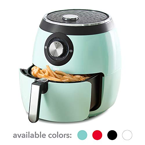 Dash DFAF455GBAQ01 Deluxe Electric Air Fryer + Oven Cooker with with Temperature Control, Non Stick Fry Basket, Recipe Guide + Auto Shut Off Feature, 6 qt, Aqua