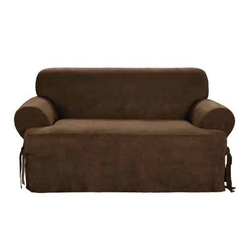 Sure Fit Soft Suede 1 Piece T Cushion Loveseat Slipcover Chocolate
