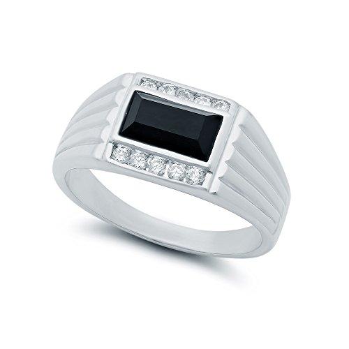 Black Baguette - The Bling Factory Men's Black Baguette Heavy Rhodium Plated Classic Ring Cubic Zirconia - Size 12.5