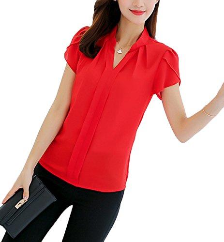 Chemisiers Couleur New Et Blouses Unie Rouge Hauts V Tops Courtes Manches Mousseline Casual Fashion Col Femme ffqTO861P