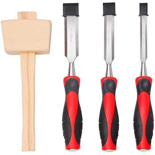 """Hi-Spec 4 Piece Wood Chisel Set including 3 Hardened Steel Chisels (1/2"""""""