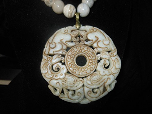 WHITE NEPHRITE DOUBLE DRAGON DOUBLE PHOENIX: Two-sided, Large, Detailed Longevity, Good Fortune Amulet with 12 mm Fossil Coral and Bronze Necklace (Vintage Carving)