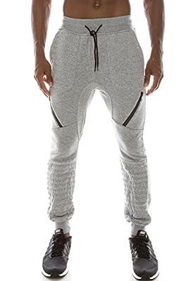 Mens Hipster Hip Hop Fleece Jogger Pants W/ Zipper Accent Details