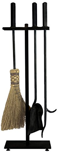 "Ironhaus Hand Forged Fireplace Tool Set in Natural Finish, Contemporary Design, 7"" L x 24"" H x 10"" W, Black"