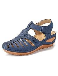 Sandalias de piel para mujer, sandalias de verano, sandalias de playa, con suela suave, cómodas y casuales, Deslizador, 8, Marino