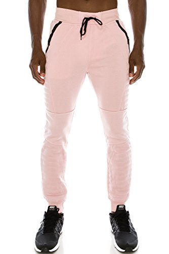 JC DISTRO Mens Hipster Hip Hop Quilted Fleece W/Zipper Pockets DustyRose Jogger Pants - Model Dusty Male