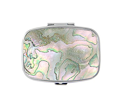 (Closeup of Abalone Shell Custom Fashion Silver Square Pill Box Medicine Tablet Holder Wallet Organizer Case for Pocket or)