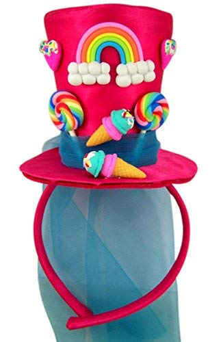 Pink Candy Novelty Mini Top Hat Valentine's Day Headband with Blue Tulle -