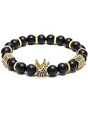 """SEVENSTONE 8mm Crown King Charm Bracelet for Men Women Black Matte Onyx Stone Beads, 7.5"""""""