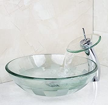 GOWE Victory Glass Bowl,Bathroom Sink,Wash Basin With Waterfall Faucet  Tempered Glass Bathroom