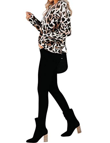 MYMORE Women V Neck Leopard Print Blouse Shirts Long Sleeve Pullover Fashion Tops