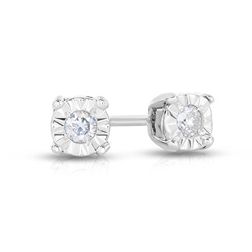 1/10 Carat Weight - White Diamond Illusion Set Stud Earrings in Sterling Silver