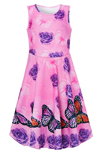 Girls Dress 6-7 Years Old Skirt 3D Pattern Dance Tunic Beautiful Colorful Flower Play Wear Vintage Pink Skater Garments Scoop Neck Wiggles Clothes Casual Birthday Wedding ()