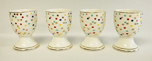 Egg Yellow Cup (Elegant Set Of 4 Porcelain Egg Cups With A Variety Of Patterns (Red, Yellow, Blue Gold Dots With Gold Trim))