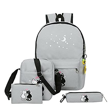 10012f06bf RANSI 4 Pcs Set STAR AND CAT CANVAS Laptop College School Party Rucksack Travel  Backpack Bag  Amazon.in  Sports