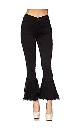 176aba2b7a9947 Women's Fashion Bell Bottom Pants High Waist Tassel Stretch Curvy Fit Jeans  Black