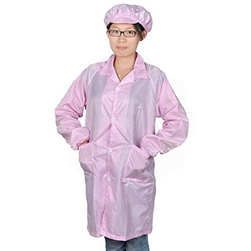 Woman Pink Long Sleeve Patch Pockets Anti Static Overall Gown Coat L By Fuxell