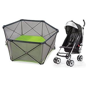 Summer Infant Pop n Play Portable Playard with 3D Lite Stroller, Black