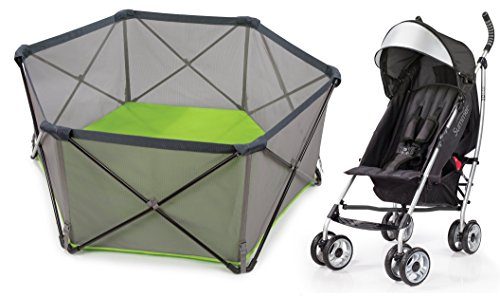 Summer Infant Pop n Play Portable Playard with 3D Lite Stroller, Black