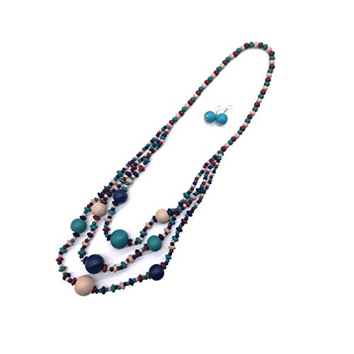 - Halawly Multicolored Beaded Wood Bead Layered Necklace (09)