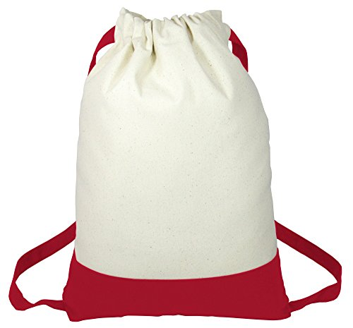 Two Tone Fancy Heavy Canvas Drawstring Backpacks for Sports, Travel, School Set of 6 (Red) Review