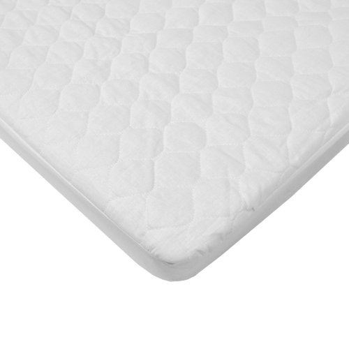 American Baby Company Waterproof Quilted Cotton Bassinet Size Fitted Mattress Pad Cover, White