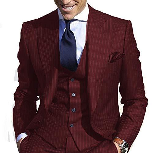 JYDress Men's Pinstripe Suit Slim Fit Stripe Peaked Lapel Jacket Vest Pants Sets Burgundy