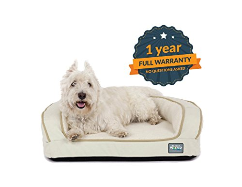 Better World Pets Super Comfort Bolster Dog Bed :: Waterproof Memory Foam Pet Bed with Durable Canvas Cover, Extra Plush Fleece + Foam Bolsters :: 4 Inch Thick, Washable, Small, White Sand by by Better World Pets (Image #6)