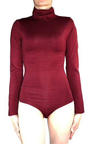 termico Body Rosso a collo maniche alto da Scuro a lunghe donna dU4qrwxWU