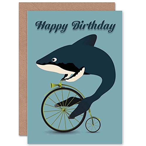 Wee Blue Coo Happy Birthday Whale Shark Bicycle Penny Farthing Absurd Greetings Card ()