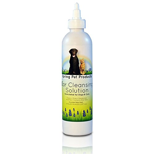 Spring Pet Ear Cleaner for Dogs and Cats ~ 8 Oz Size ~ Soothing Aloe Vera and Vitamin Veterinary Strength Formula Made In USA by Spring Pet Products
