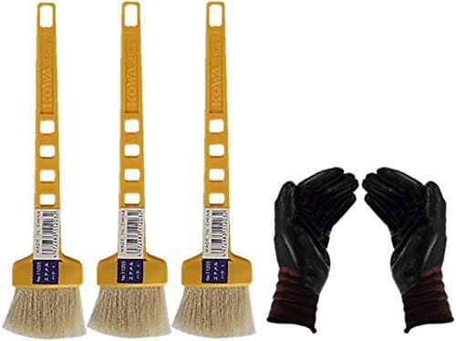 黄柄エナメルハケL 3本セット(作業手袋付き)お急ぎ便