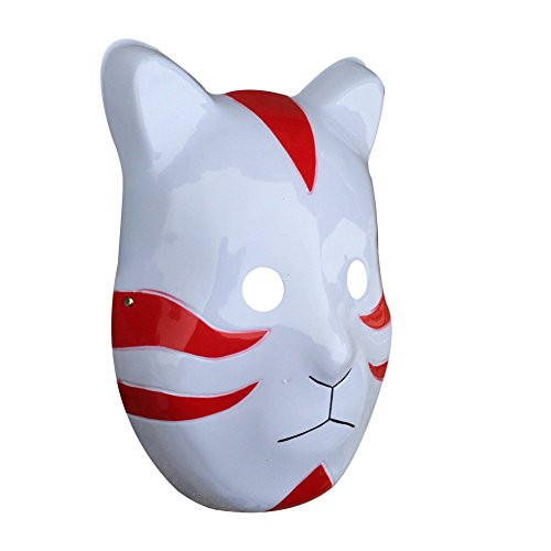 YangYong Cosplay Japanese Cat Mask, Plastic Comic and Anime Ninja Costume Masks (Medium-Full Face, C) Red]()