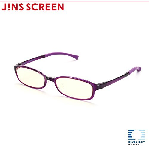 JINS PC Glasses Computer Eyewear Purple (Light Brown Lenses, Cuts blue Light by 38%) by - Glasses Jin