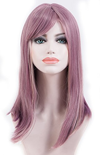Spretty Charming Long Purple Ombre Pink Straight Wigs with Oblique Bangs for Cosplay