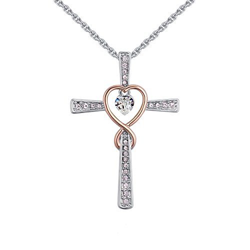 Isijie Jewelry Love God Cross Two-Tone Pendant Necklace Women by Isijie Jewelry