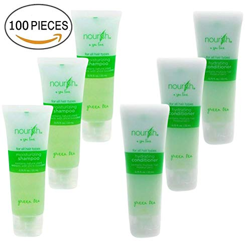 (Nourish Spa Line Green Tea BNB Amenity Bath & Body Sets - Shampoo & Conditioner (50 of Each))