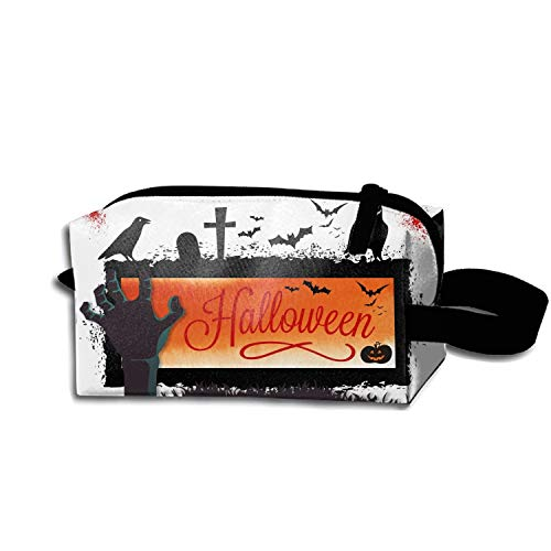 scakoko Halloween Dark Raven Makeup Pouch Durable Travel Clutch Bag Zipper -