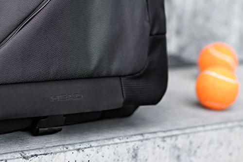 HEAD Lead Borsa a tracolla per uomo e donna, borsa da lavoro con scomparto per laptop da 15 e scomparto con cerniera RFID, nero
