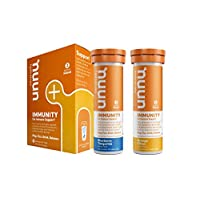 Nuun Immunity: Antioxidant Immune Support Hydration Supplement with Vitamin C, Zinc, Turmeric, Elderberry, Ginger, Echinacea, and Electrolytes. Blueberry Tangerine+Orange Citrus, 2 tubes (20 servings)