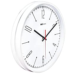 45Min 12 inch Iron Metal Wall Clock, Silent Non Ticking Quality Quartz Battery Operated, Easy to Read Indoor decor(White 2#)