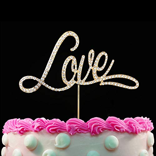 Love Cake Topper Crystal Bling Rhinestone Diamond Cake Topper Wedding Anniversary Bridal Shower Bachelorette Party Decoration - Gold (Love)