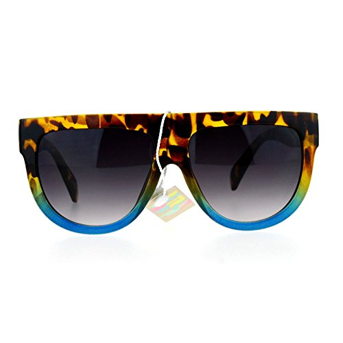 SA106 Flat Top Mob Plastic Aviator Womens Sunglasses Tortoise - Sunglasses Blue Tortoise