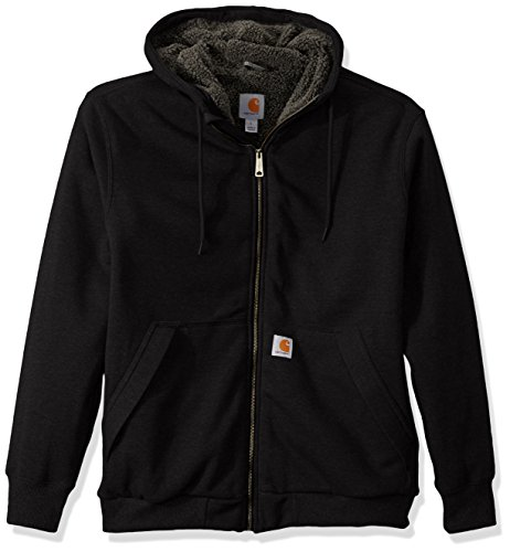Carhartt Men's Rain Defender Rockland Sherpa Lined Hooded Sweatshirt, Black, Small
