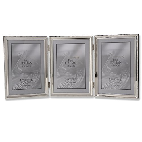 Lawrence Frames Polished Silver Plate 5x7 Hinged Triple Picture Frame - Bead Border Design Design Hinged