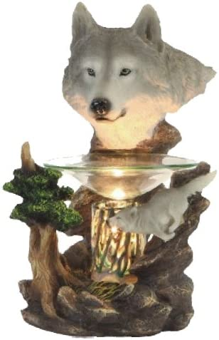 Poly Resin Wolf Figurine Electric Oil Warmer or Tart Burner