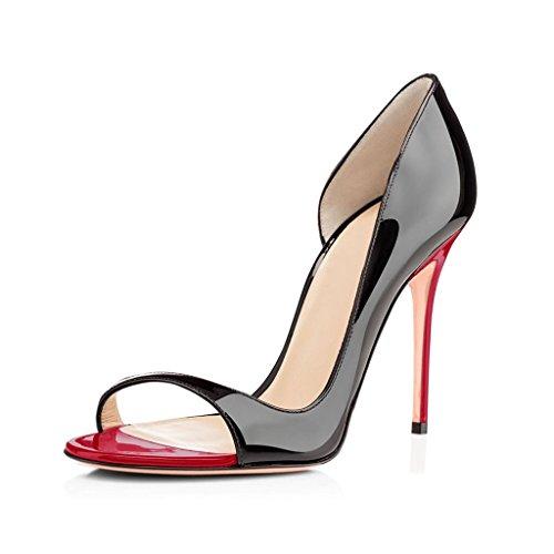 elashe Escarpins Femms Bout Ouvert Talon Aiguille 12cm Talon Haut Chaussures de Soirée Mariage Noir-Rouge LtgLp6RSAM