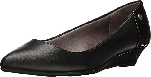 LifeStride Women's Spark Pointed Toe Flat, Black Synthetic, 6 M US